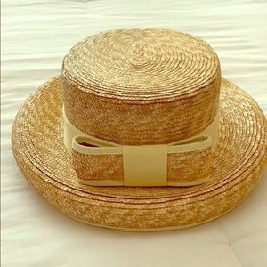 Accessories - Straw hat with light yellow bow